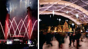 Approximately 300,000 LED lights created a brightly festive holiday look