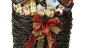 Lina Epicure's gift basket, brimming with gourmet goodies.