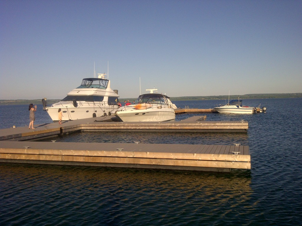 Cobble Beach's new floating day dock.