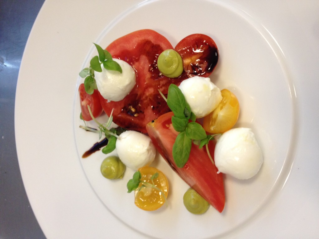 Buffalo milk mozzarella and heirloom tomato salad.