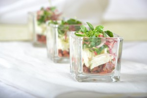 Tapas with Candied Sockeye Salmon, Culinary Capers Catering and Special Events
