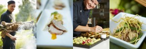 Culinary Capers Catering: Chef David Ediger; Pork Two Ways; Sous Chef Kris Chant; and Adobo Chicken. Photo: Foodie Photography.