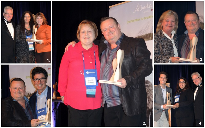 (All photos l-r) 1. Andrew Horsfield, Lord Elgin Hotel; Inspirational Supplier of the Year - Krista Cameron, Destination St. John's; Erin Crane, Economic Development Lethbridge. 2. Claire Tyrrell accepted the Volunteer Leadership Award on behalf of her late husband from Chuck Schouwerwou, CMP, CMM, PCMA Canada East president. 3. President's Award winner Heidi Welker, Freeman Audio Visual Canada and Chuck Schouwerwou. 4. Mark Zanetti, Banff-Lake Louise Tourism; Inspirational Planner of the Year Alison Owers-Graham, Tourism Toronto; and Andrew Horsfield. 5. Chuck Schouwerwou with President's Award winner Barry Smith, Metro Toronto Convention Centre.